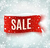 stock photo of  realistic  - Winter sale background with red realistic ribbon banner and snow - JPG