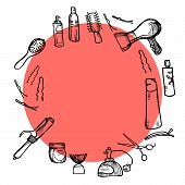 Hand drawn illustration - Hairdressing tools (scissors, combs, styling). Vector