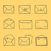 Hand drawn sketch illustration - letter and envelope
