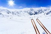 Skiing , mountains and ski equipments