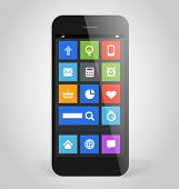 Modern smartphone with tile interface color icons. Design elements