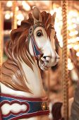 circular horse carousel in amusement park setting
