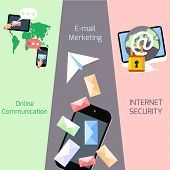 Email marketing, security, communication concepts