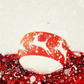 Christmas Decoration In White And Red Colors