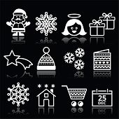 Christmas, Xmas celebrate white icons set on black