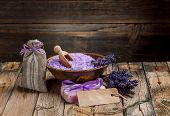 foto of sachets  - Spa concept lavender soap sachet and bath salt - JPG