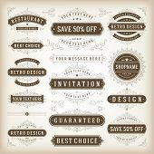 Vector Vintage Labels And Flourishes Swirls Design Elements
