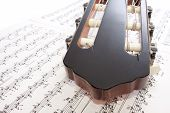 Closeup Guitar Headstock And Notes