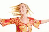 Happy Woman Turning Around