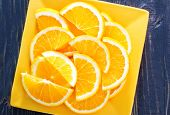 picture of valencia-orange  - fresh orange on the yellow plate and on a table - JPG