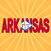 Arkansas flag text with sunburst illustration