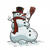 snowman cartoon illustration isolated on white