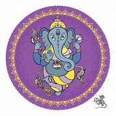 Lord Ganesha Hand drawn illustration.