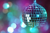 Colorful  disco ball on magic bokeh  background \ horizontal