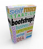 Bootstrap word on a new product box or package to promote or advertise a product launched by a small business startup or launch