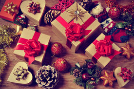 foto of christmas  - a pile of gifts and christmas ornaments - JPG