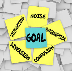 image of objectives  - Goal word on sticky note surrounded by distractions - JPG
