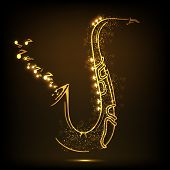 foto of saxophones  - Golden illustration of musical notes coming out from saxophone on shiny brown background - JPG
