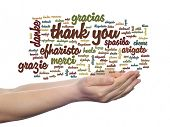 foto of appreciation  - Concept or conceptual abstract thank you word cloud held in hands different language - JPG