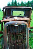 Rusty Old Car in a Junkyard