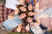 foto of friendship day  - Happy friends in the park having picnic on a sunny day - JPG