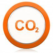 image of carbon-dioxide  - carbon dioxide orange icon co2 sign  - JPG