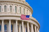 picture of democracy  - Capitol building Washington DC american flag USA congress US - JPG