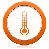 image of thermometer  - thermometer orange icon temperature sign  - JPG