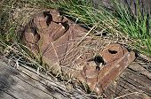 stock photo of loco  - view of the old railway sleepers day - JPG