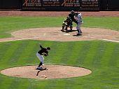 Athletics Sidearm Pitcher Brad Ziegler Throws Pitch To Blue Jays Yunel Escobar