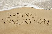 pic of spring break  - the text spring vacation written in the sand of a beach - JPG