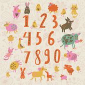 picture of numbers counting  - Sweet learn to count concept set in cartoon style - JPG