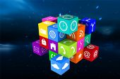 stock photo of twinkle  - App cube against stars twinkling in night sky - JPG