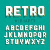 image of alphabet  - Retro style 3d alphabet - JPG
