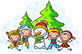 pic of snowmen  - Snowman and happy kids on a winter day - JPG