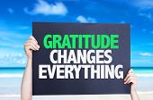 stock photo of humility  - Gratitude Changes Everything card with beach background - JPG