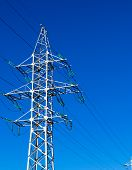 pic of electricity pylon  - An electricity pylon sends power to all of the people - JPG