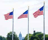image of washington monument  - Washington Monument flags and Capitol in DC United States USA - JPG