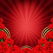 image of carnation  - Victory Red Poster With Red Carnations Border With Gradient Mesh - JPG