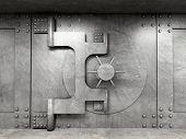 stock photo of vault  - 3d image of classic vault door - JPG