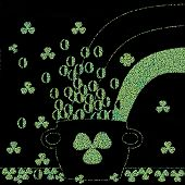 picture of pot gold  - Pot of gold with shamrocks green chalk drawing on black board  - JPG