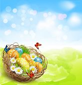 pic of nest-egg  - background with Easter nest and eggs on spring background with bokeh  - JPG