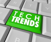 image of hardware  - Top Trends words on a green computer keyboard button to illustrate top - JPG