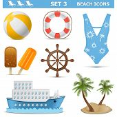 pic of ship steering wheel  - Beach Icons including ball - JPG