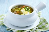 stock photo of sorrel  - Sorrel soup with quail eggs and sour cream - JPG