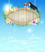 foto of toucan  - Summer vector tropical background with toucan and wooden banner - JPG