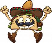 image of sombrero  - Happy cartoon taco with Mexican sombrero - JPG