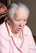 picture of cough  - Old woman coughing at home - JPG