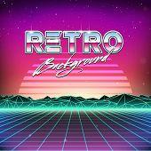 image of rave  - 80s Retro Futuristic Science Fiction Background - JPG