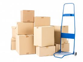 picture of hand-barrow  - Hand truck and pile of cardboard boxes on white background - JPG